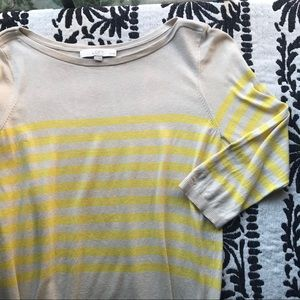 LOFT Cream Yellow Stripe 3/4 Sleeve Sweater